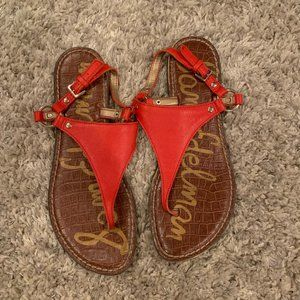 sam edelman red and tan triangle sandals